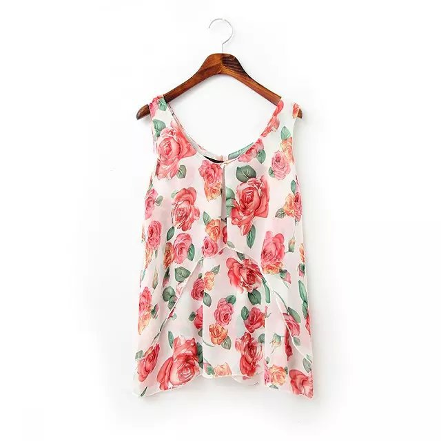 New Summer Fashion Women chiffon floral print sleeveless ...