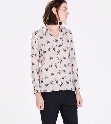 spring lady cute birds print chiffon casual blouse shirt ...