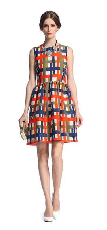 summer Fashion Ladies' Elegant blue red plaid sleeveless ...