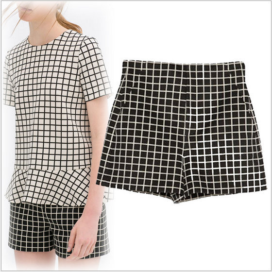 summer fashion Ladies' Elegant white plaid print black ...