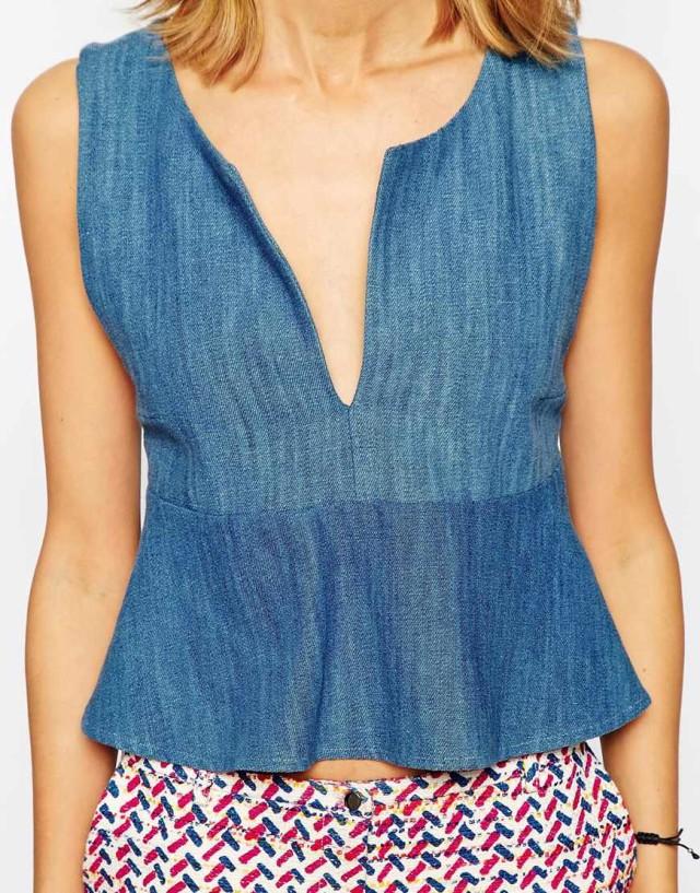 Summer Fashion Women Blue Denim Cross Backless Ruffled ...