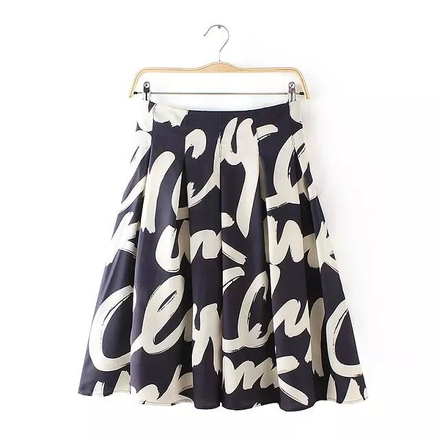 Summer Fashion Women Chiffon Pleated Letter Print black ...