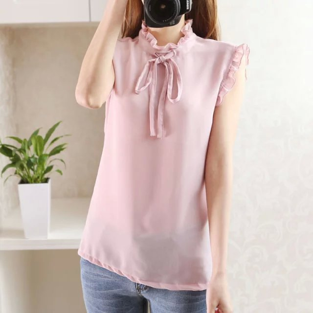 Summer Fashion Women Elegant Chiffon Blouses vintage ...