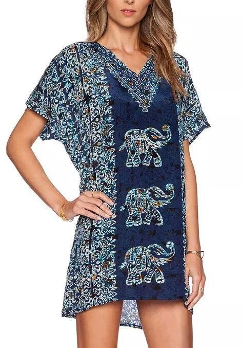 Summer Fashion Women Elegant Elephant printed Dresses ...
