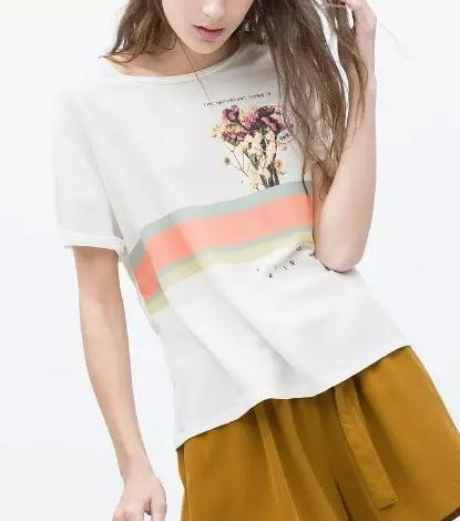 Summer Fashion Women Elegant floral print white T shirts ...