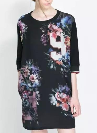 Summer Fashion Women Vintage Floral Number Print Black Dresses O-neck Half sleeve Casual dress
