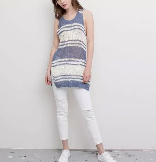 Summer Style Stripe Tank Top Womens O neck Cotton Tank ...