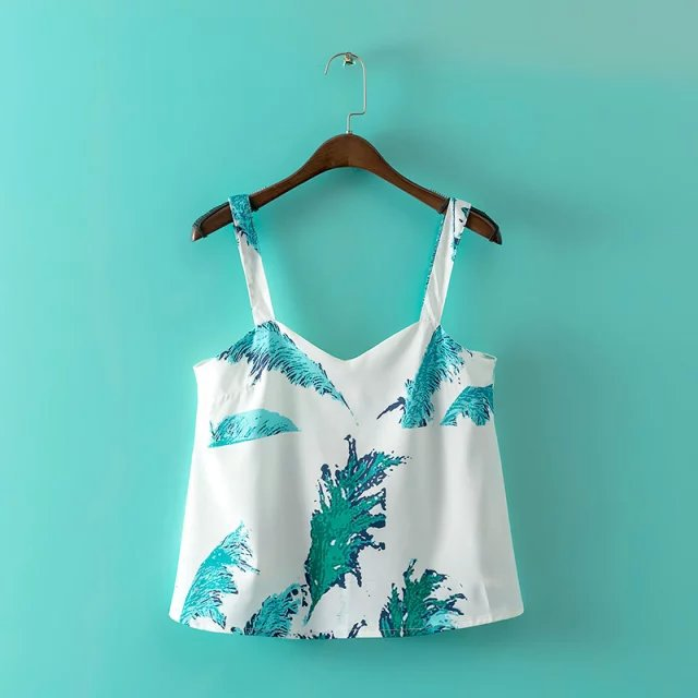 Summer Women Sexy Green leaf Print Tanks Crop Tops Stretch ...
