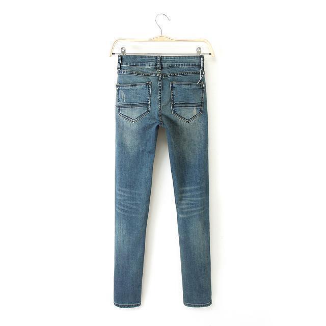 Winter Fashion women Worn white wash Jeans skinny legging ...