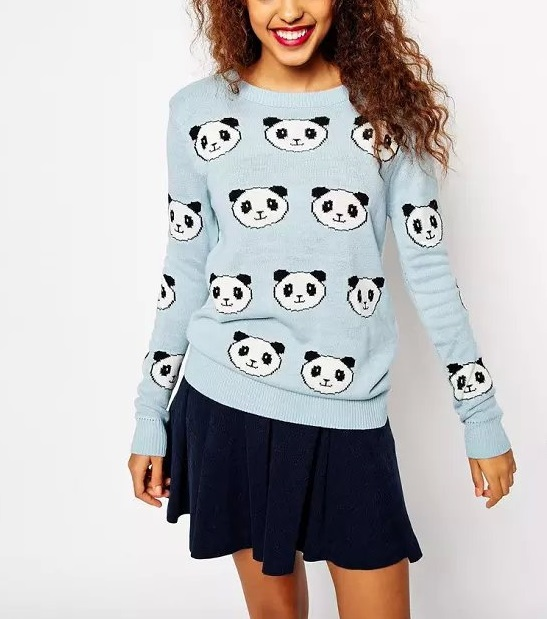 Winter women fashion Panda Pattern Blue Knit Sweaters ...