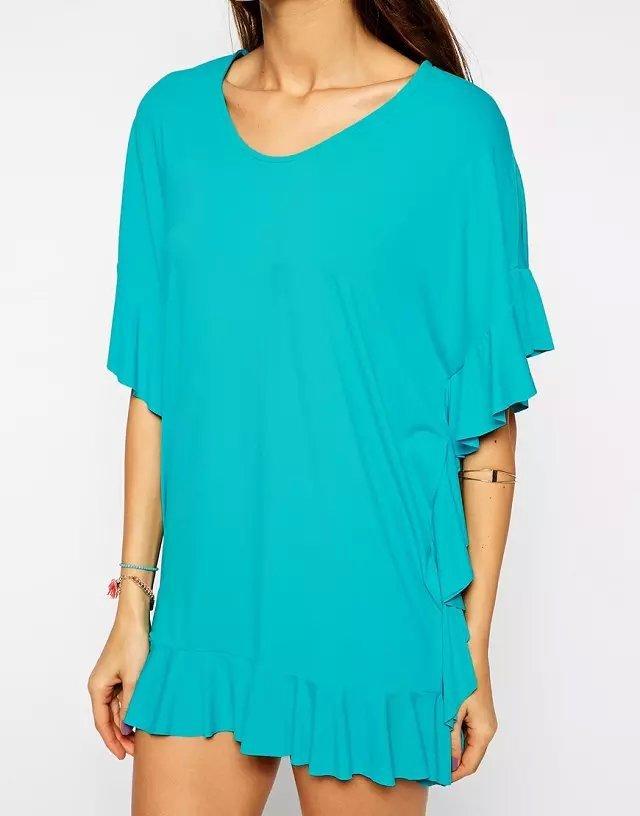 Women Blue Ruffle T shirt Dress Summer Style Sexy Bandage ...