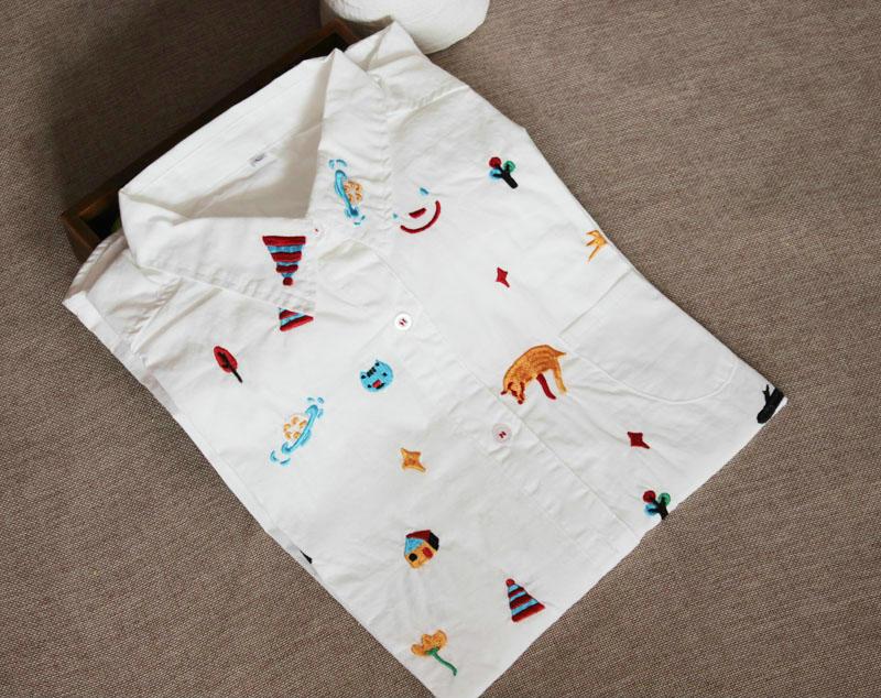 Women fashion elegant embroidery white blouses vintage ...