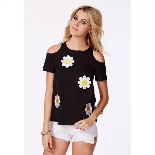 Women  Fashion Elegant floral Embroidery sexy shoulder ...
