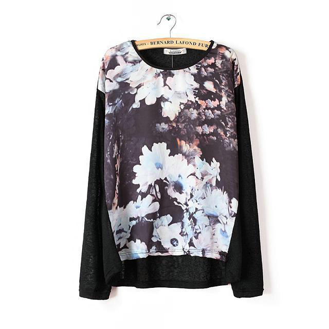 Women fashion elegant floral pattern black thin pullover ...