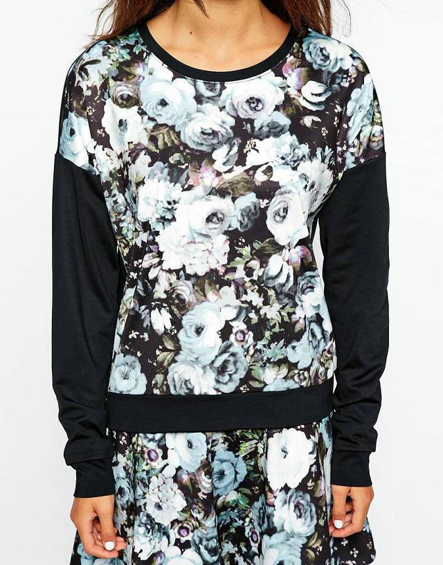 Women fashion elegant ink floral print sports pullovers ...
