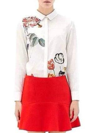 Women fashion elegant white floral print blouses vintage ...