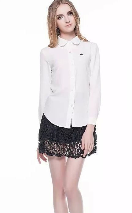 Women fashion Office Lady elegant Turn-down collar Chiffon ...