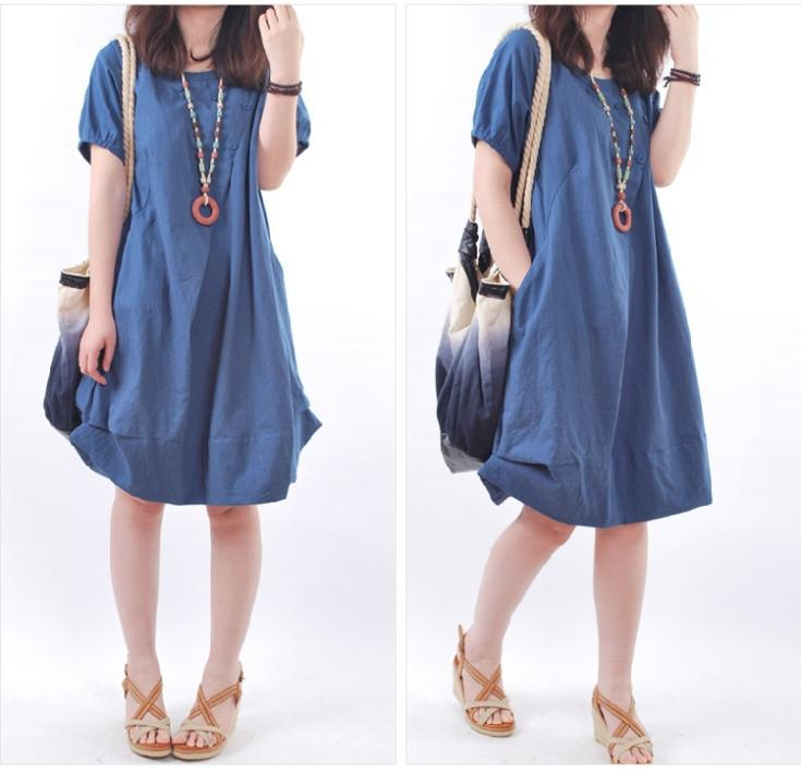 New Brand Summer Women Casual Solid O-Neck Ball Gown ...