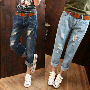 New fashion women casual plus size vintage ripped hole ...