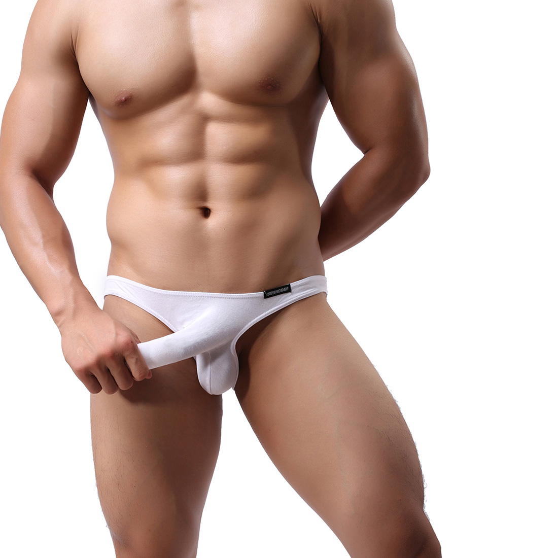 Men's Sexy Lingerie Underwear Modal Triangle Pants Shorts with Penis Sheath WH8 White XL