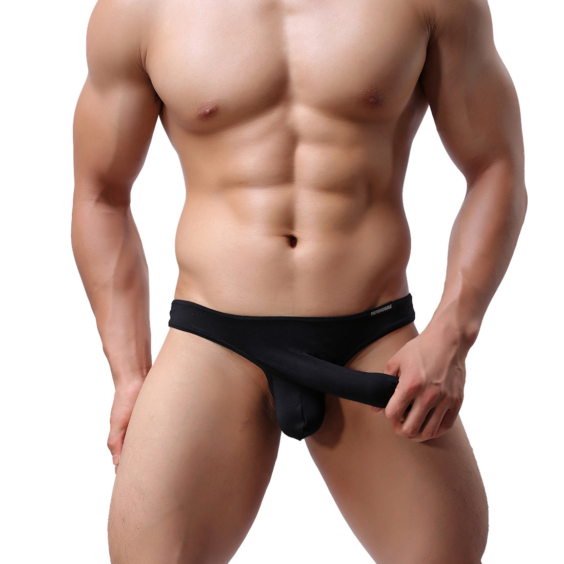 Men's Sexy Lingerie Underwear Modal Triangle Pants Shorts with Penis Sheath JET Bikini WH9 Black XL