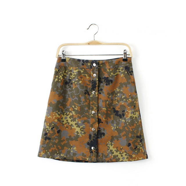 LE02 Summer Fashion Women Denim Camouflage Print pocket ...