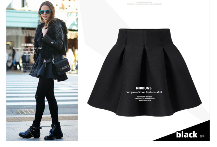 04SX14 Fashion women vintage black color elastic waist Mini pleated ball gown Skirts casual quality skirts