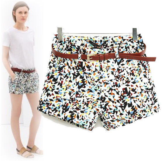 03XC227 Fashion Ladies' Elegant geometry print shorts ...