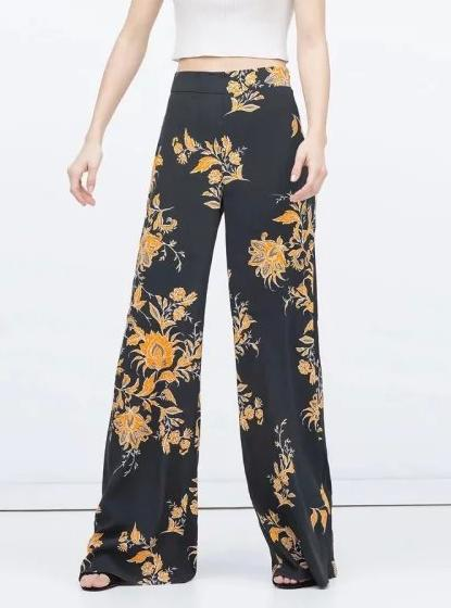 Wd1 Fashion Women Floral Print Wide Leg Pants flare ...
