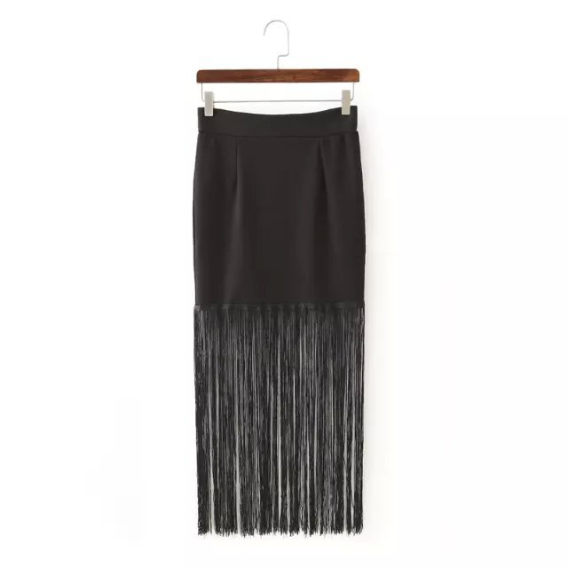 XL49 New Summer Fashion Women Tassel Elastic Waist Tunic black Skirt Casual brand Quality skirts