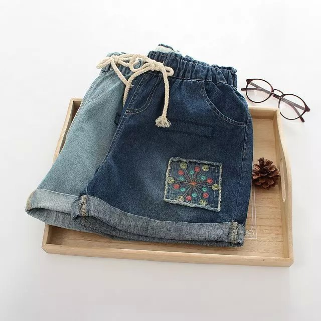 ZH03 New Fashion Women Elegant Drawstring Embroidery Denim Blue Jeans pockets Hole casual shorts