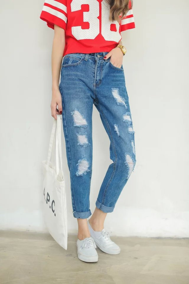 XRJ02 Fashion Women Hole Denim blue Zipper Casual brand ...