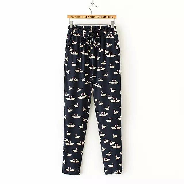 Rmg11 Fashion Ladies Elegant Swan Print Pant Elastic Waist Trousers Pockets Plus Size Brand Harem Pants Women Pantalones Mujer