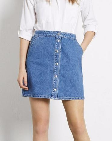 LE04 Summer Fashion Women Denim Light Blue pocket Button A-Line Packet Buttock skirt Casual brand Quality Skirts