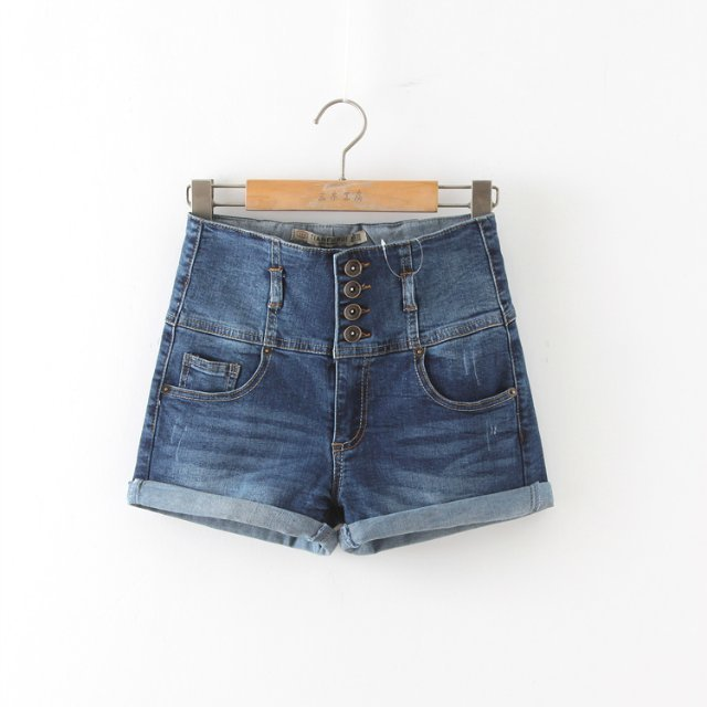 WS05 New Fashion Women Vintage High Waist Denim blue ...