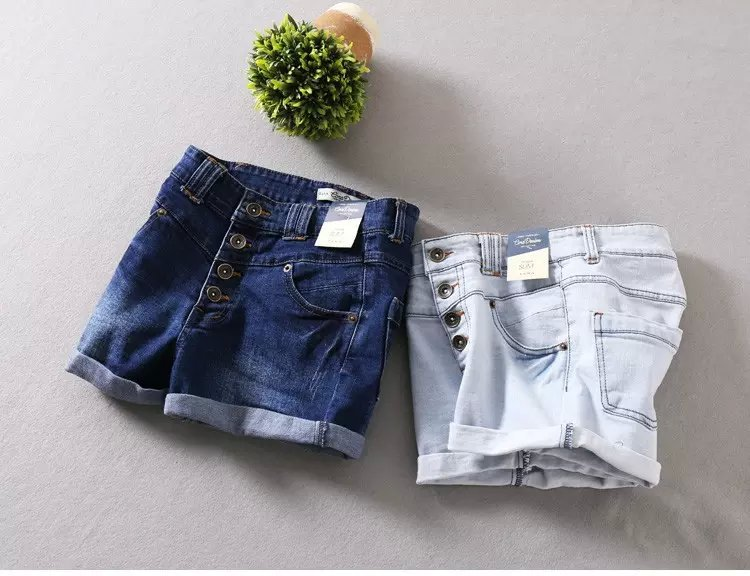 WS04 New Fashion Women Vintage Denim blue 4 Buttons ...