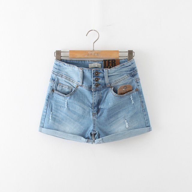 WS11 Summer New Fashion Women Vintage Denim blue 3 Buttons Pocket Cuffs Casual Jeans Shorts