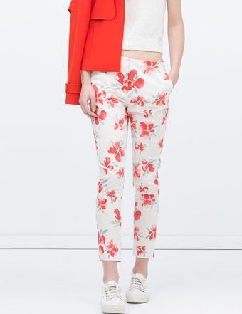 Fh02 New Fashion Ladies Elegant Floral Print Pants Zipper Pockets Casual Brand Design Capris Pencil Pant Trousers Women Female