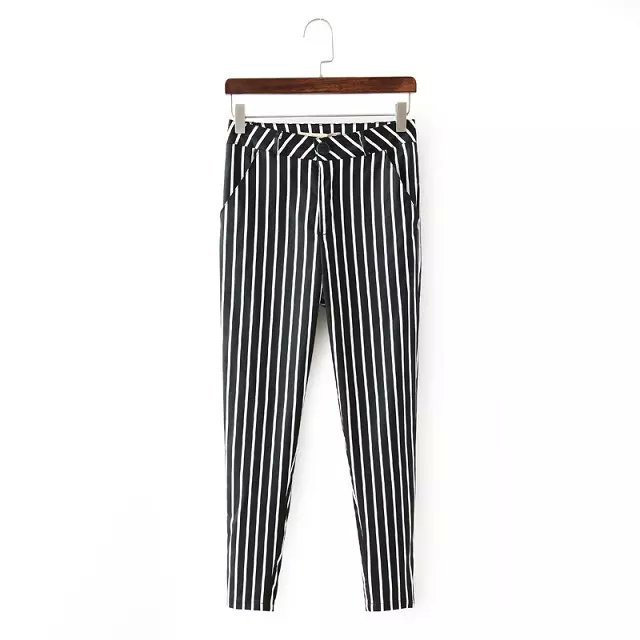 DT04 Fashion Women Elegant Stripe Print Basic Pants ...