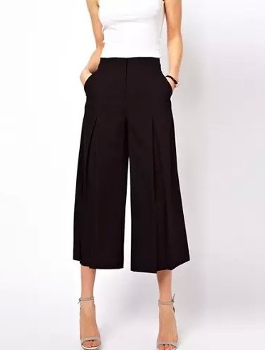 Dt01 Fashion Women Elegant Knee Black Wide Leg Pants ...