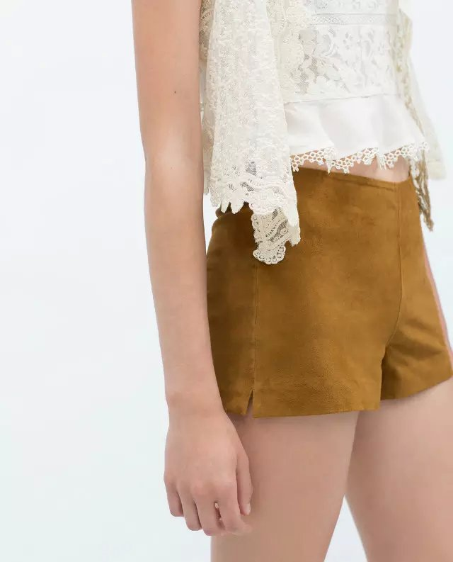 Xz84 Fashion Women Elegant Faux Suede Shorts Mujer Vintage Side Zipper Pockets Casual Brand Design Female Short Feminino