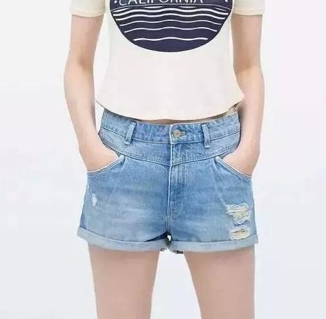 XC33 Fashion Women Elegant Zippers Denim Blue short pockets Slim casual hole Jeans Plus Size shorts