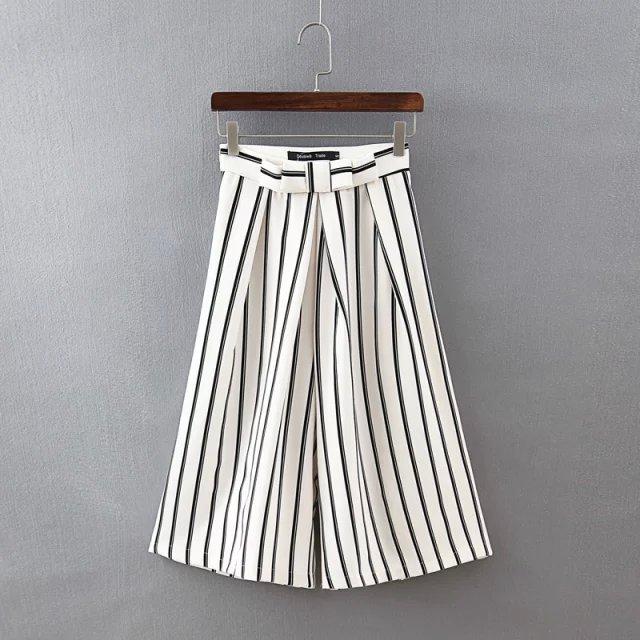 Wn12 Fashion Women Elegant Striped Bow Wide Leg Flare Trousers Loose Zipper Pockets Casual Office Lady Brand Capris Pants