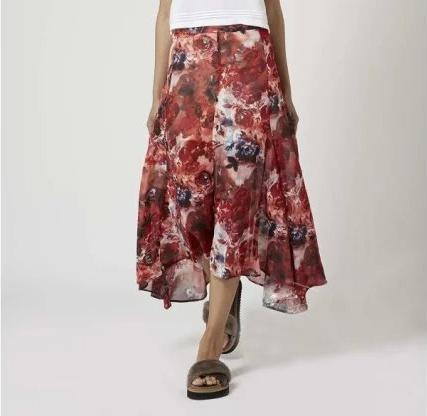 XIC22 Summer Fashion Women Pleated floral print Side Open Skirt Irregular Casual Plus Size brand Quality skirts