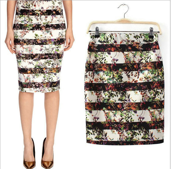 04A1144 New Fashion Ladies' Elegant striped flower pencil Skirts zipper waist casual slim brand design quality skirts