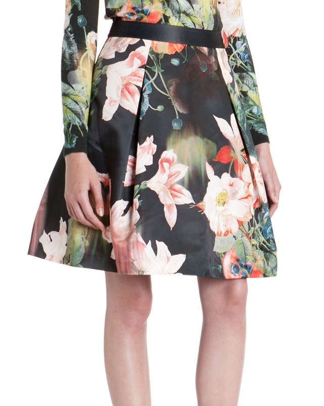 04TH13 Fashion women Elegant stylish leaf floral print hot Mini Skirts zipper skirts casual slim brand designer quality skirts