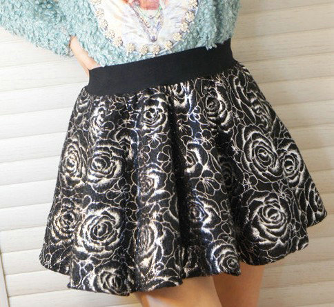 08 New Fashion Ladies' sexy golden silver rose Mini Skirts hot vintage casual slim brand quality bubble skirt