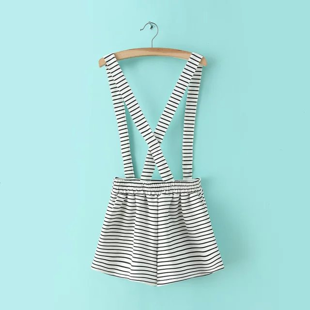 XYY50 Fashion Ladies School style striped button pockets Overalls causal brand designer Plus Size shorts