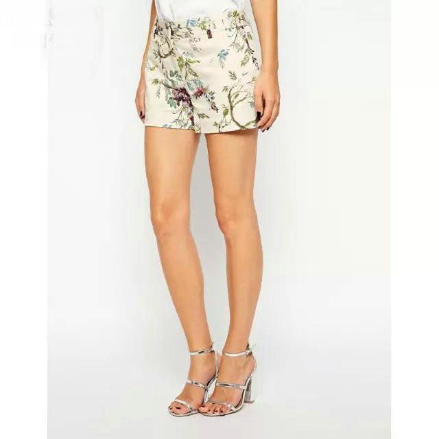 Xw03 Fashion Women Elegant Floral Print Skinny Shorts Vintage Zipper Pockets Causal Brand Short Feminino Bermuda Feminina