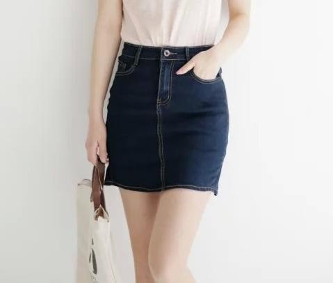 XRJ07 Fashion women vintage pleated zipper pocket Blue denim Mini Skirts casual quality skirts